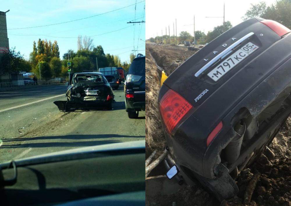 В аварии на Бетонной разбилась «Приора», недавно влетевшая в яму на Жуковском шоссе