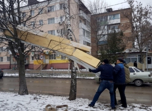 Таинственная конструкция, повисшая на деревьях у памятника Платову, больше не угрожает волгодонцам