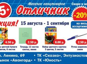 Собирайтесь в школу за отличными занятиями вместе с магазином канцелярских товаров «Отличник»!