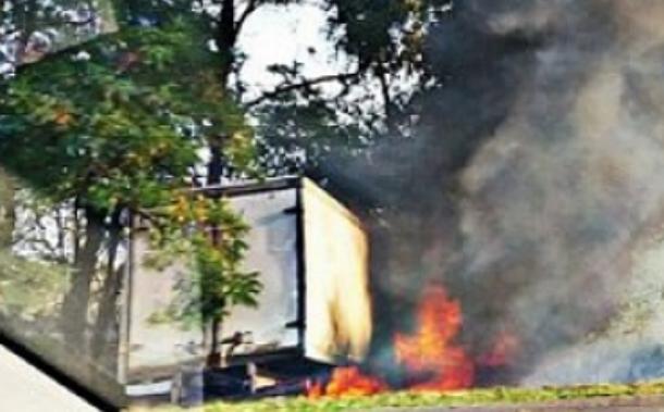 После столкновения с деревом загорелась «ГАЗель» на трассе Ростов-Волгодонск