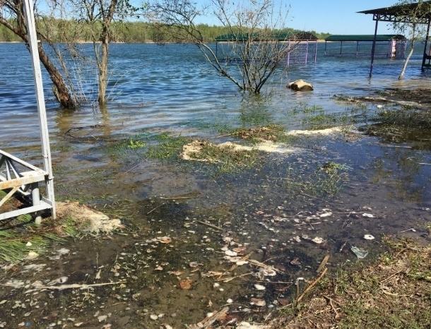 Река Дон подтопила пляж в станице Романовской и часть волгодонских баз отдыха