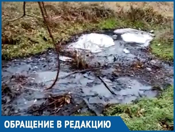 Из-за украденной канализационной трубы в поселке Солнечный образовалась речка из фекалий