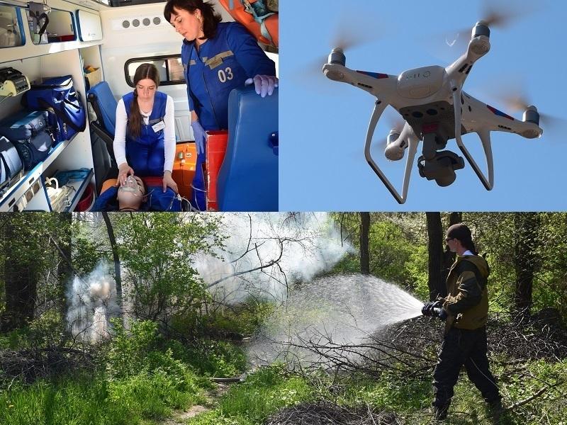 Из горящей лесополосы у ВОЭЗа пожарные под наблюдением дрона «спасли» девушку