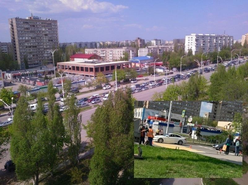 Покраска переходов вызвала колоссальную пробку на проспекте Строителей