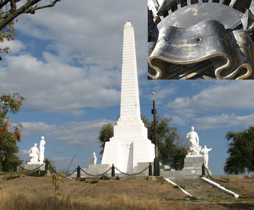 В Цимлянске на Мемориале «Строителям Волго-Дона» появились отверстия, похожие на пулевые